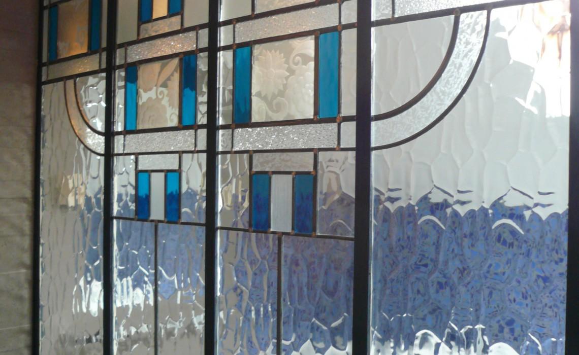 Verrière vitrail Art Déco