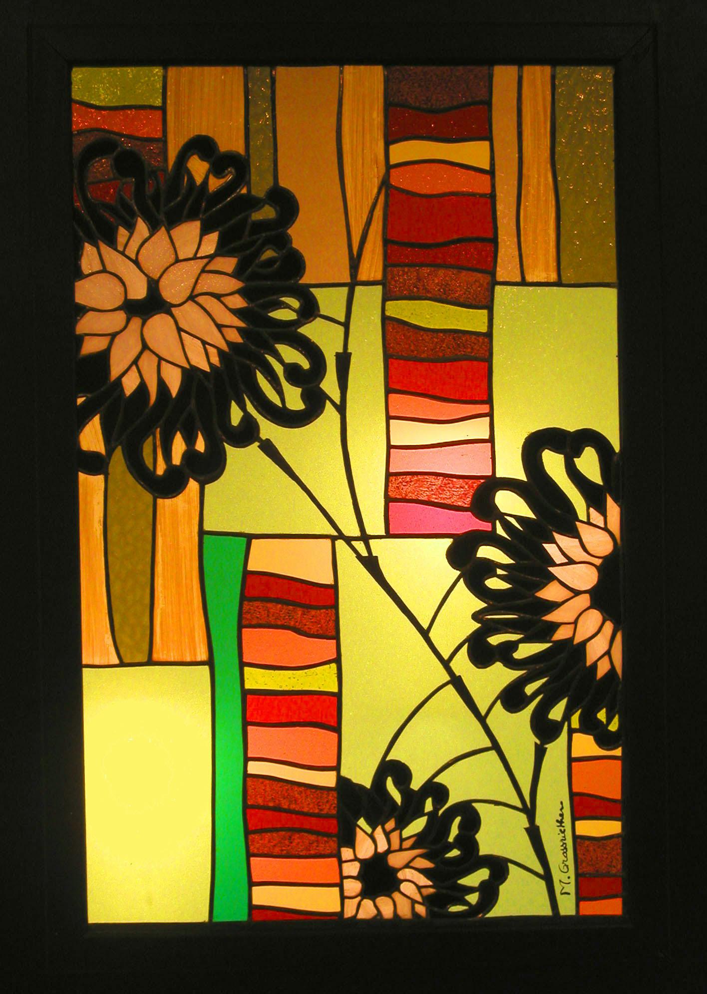 Vitrail Fleurs noires