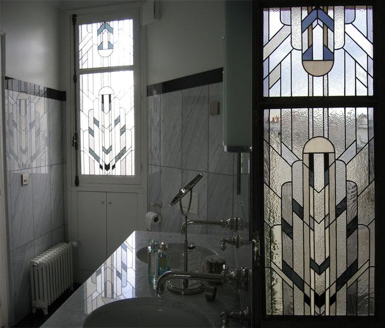 Vitrail Salle de bain Art Déco - Mise au verre