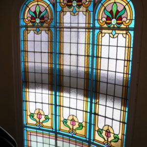 Restauration vitrail cage d'escalier